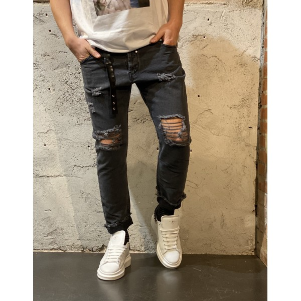 Pantaloni tela denim strappati antracite