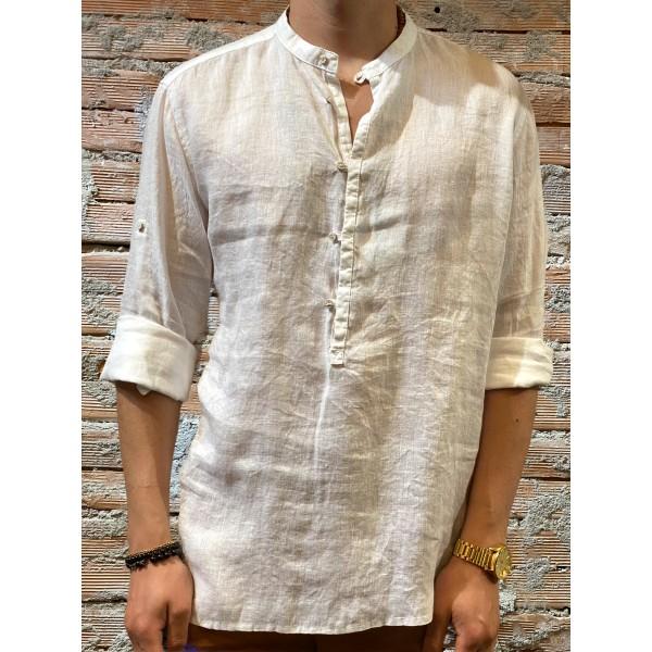 Camicia serafino bianca puro lino plt brand