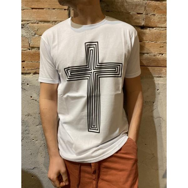 T shirt croce bianca