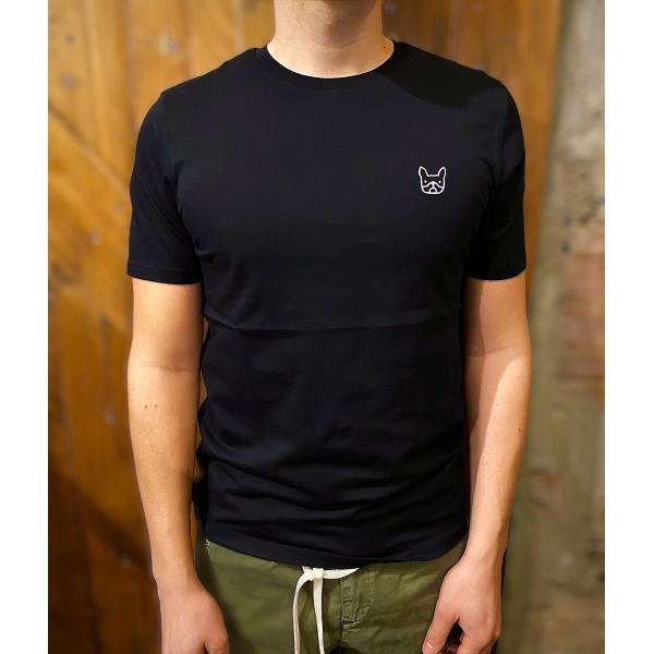 T shirt bouldogue nera