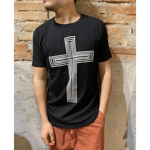 T shirt croce nera