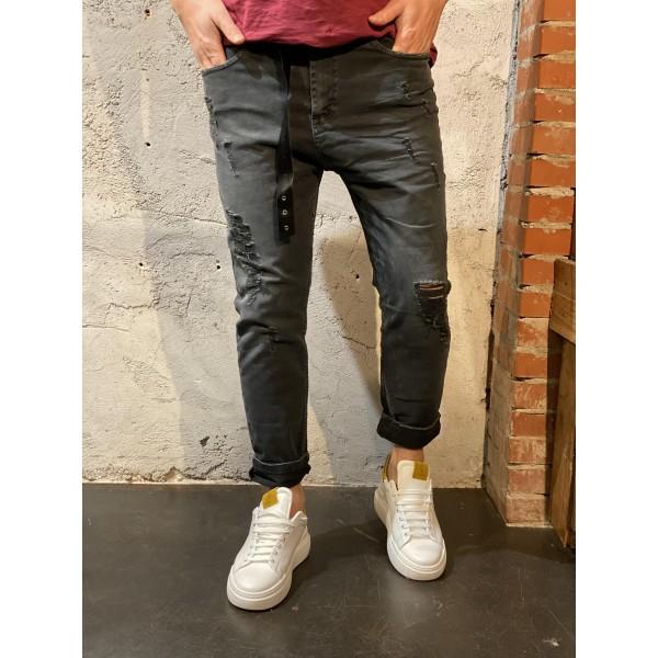 Pantaloni antracite con rotture cinturina