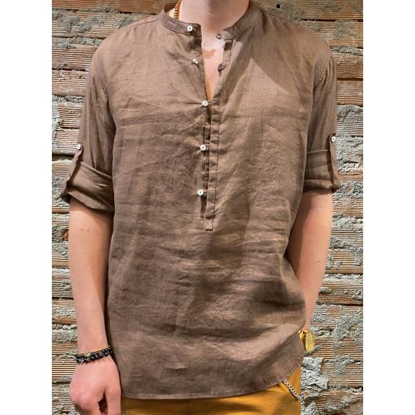 Camicia serafino caffè  puro lino plt brand