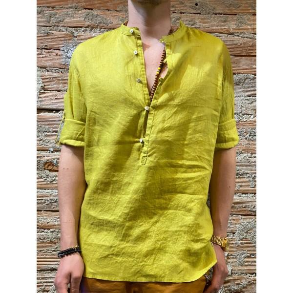 Camicia serafino senape puro lino plt brand