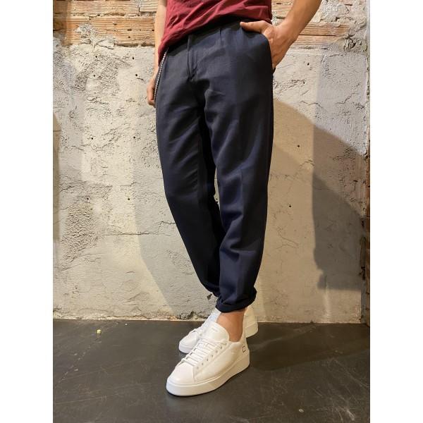 Pantalone misto lino blu