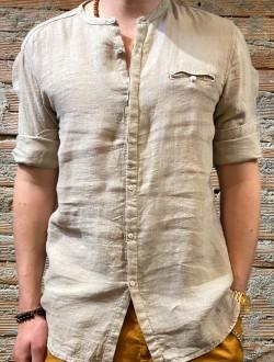 Camicia beige puro lino plt brand