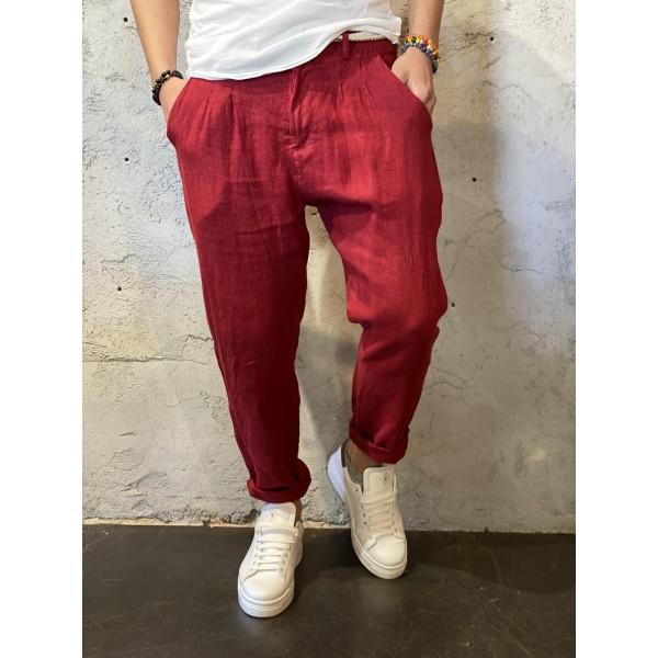 Pantaloni in lino rosso india