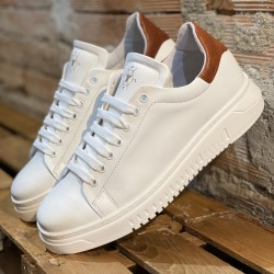 Sneakers in pelle white cognac