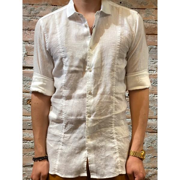 Camicia bianca colletto  puro lino plt brand