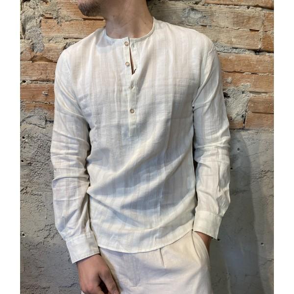 Camicia riga serafino bianca