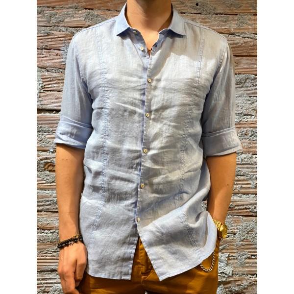 Camicia azzurra colletto  puro lino plt brand