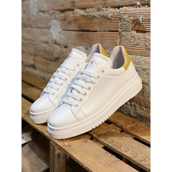 Sneakers in pelle white yellow