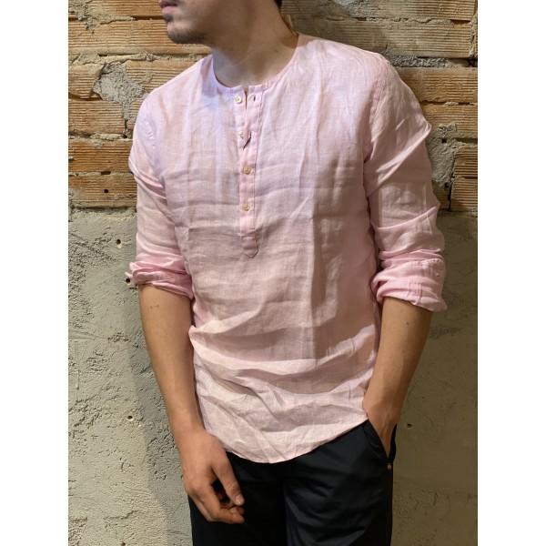 Camicia serafino rosa lino puro