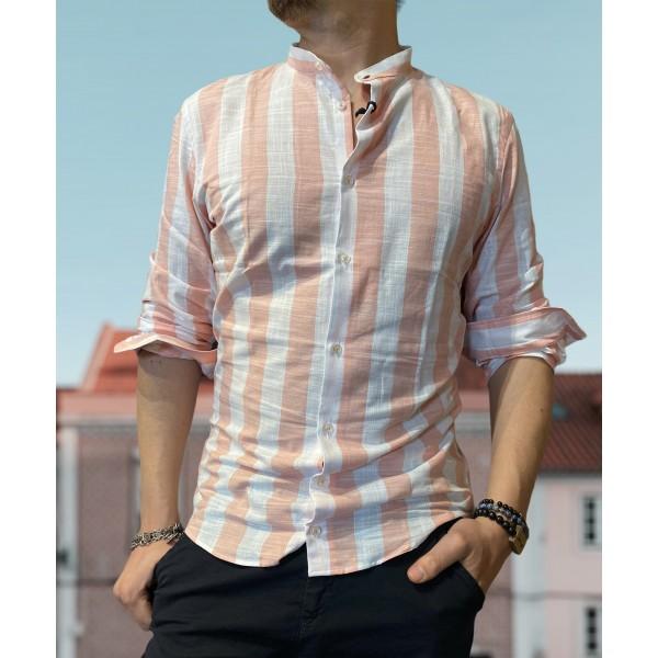 Camicia riga grossa rosa misto lino