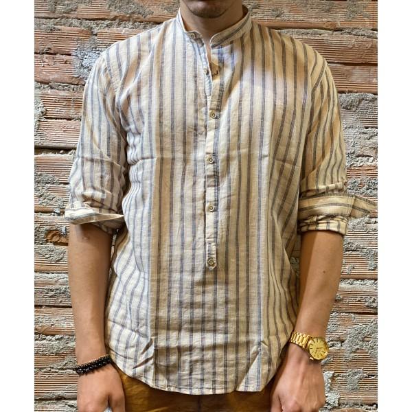 Camicia riga beige blu bl11