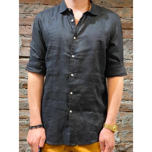 Camicia nera colletto  puro lino plt brand