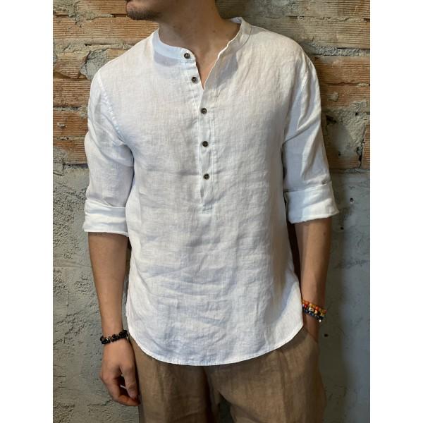 Camicia serafino bianca lino
