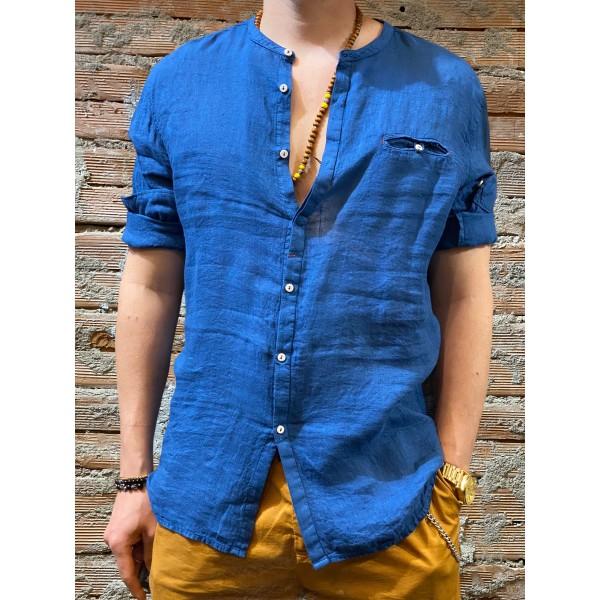 Camicia bluette  puro lino plt brand