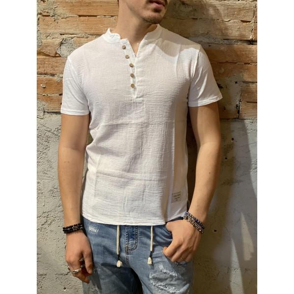 T shirt brawn bottoncini misto lino