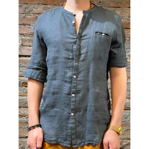Camicia carbone  puro lino plt brand