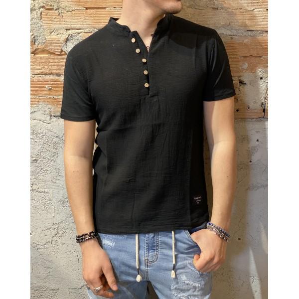 T shirt blk bottoncini misto lino