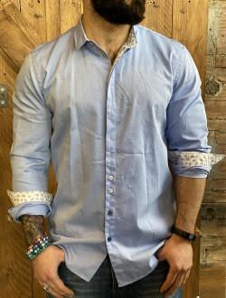 Camicia Berna azzurra bottoni a scomparsa
