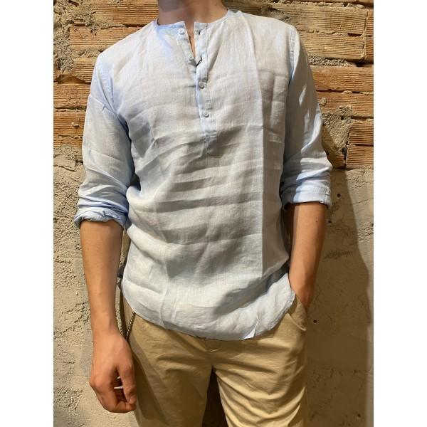Camicia serafino azzurra lino puro
