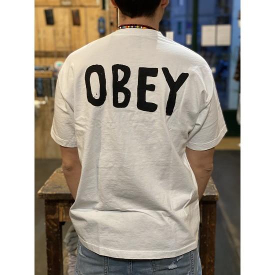 T shirt retro bianca obey