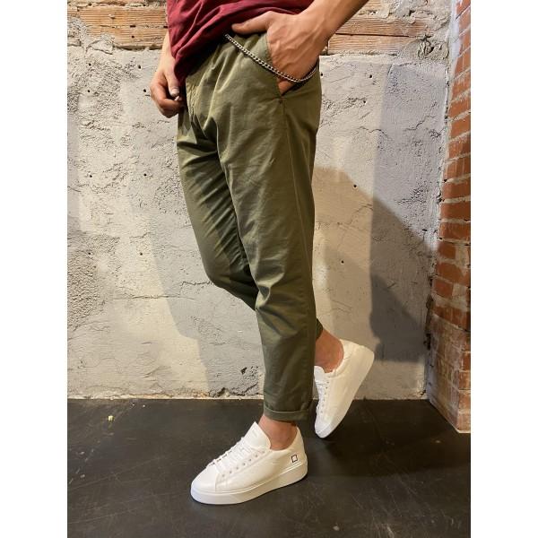 Pantalone leggero verde slim