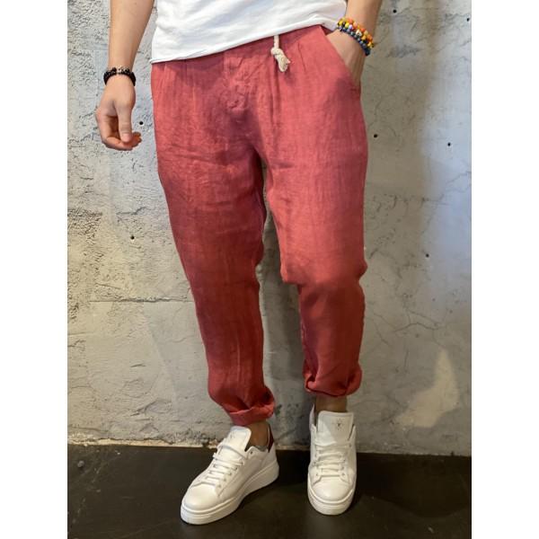 Pantaloni in lino rosa pepe