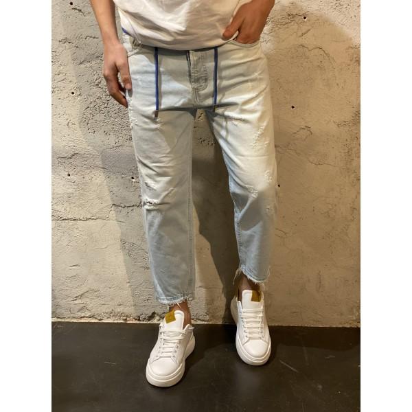Jeans carrot Cropped chiaro laccio blu