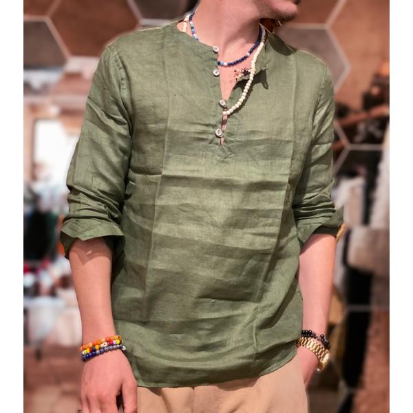 Camicia Scollata verde lino