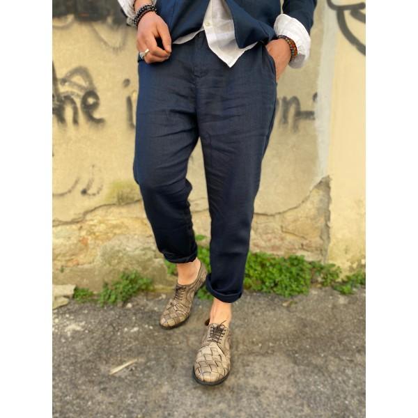 Pantaloni Lino blu sseinse