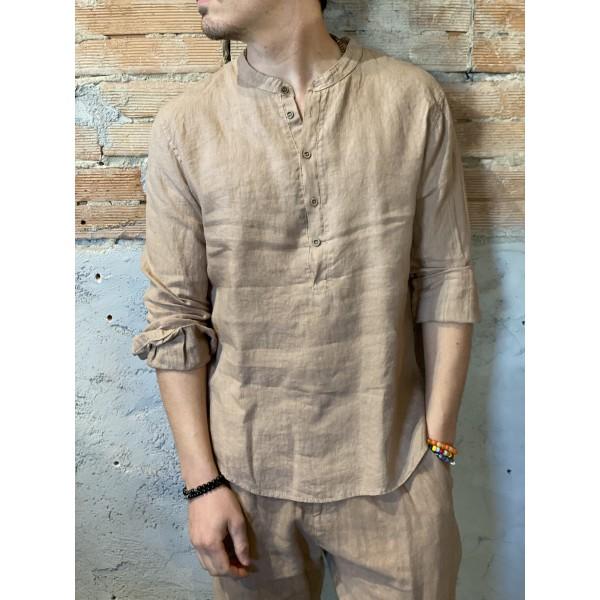 Camicia serafino beige lino