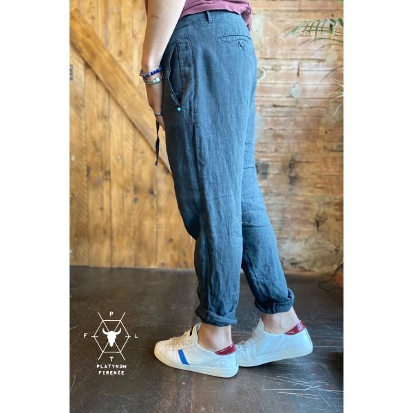 Pantaloni in lino carbone plt brand