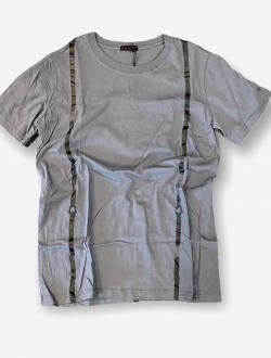 T shirt bretella grigia stampata