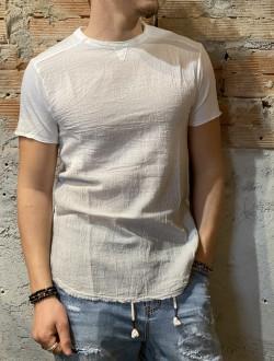 T shirt white misto lino