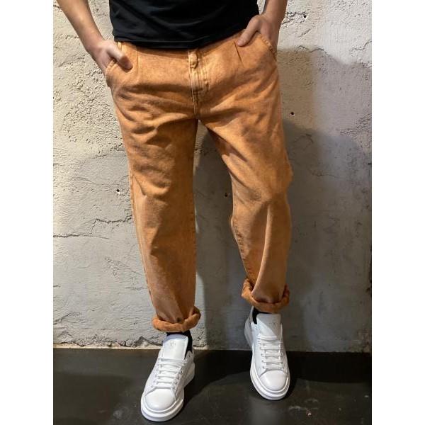Pantalone in denim orange baggy fit
