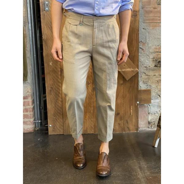 Pantalone elegante vita alta over corda