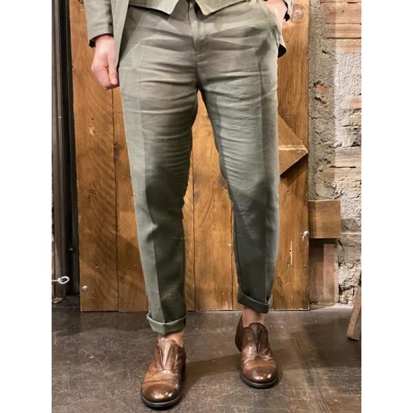 Pantaloni eleganti in lino verdi