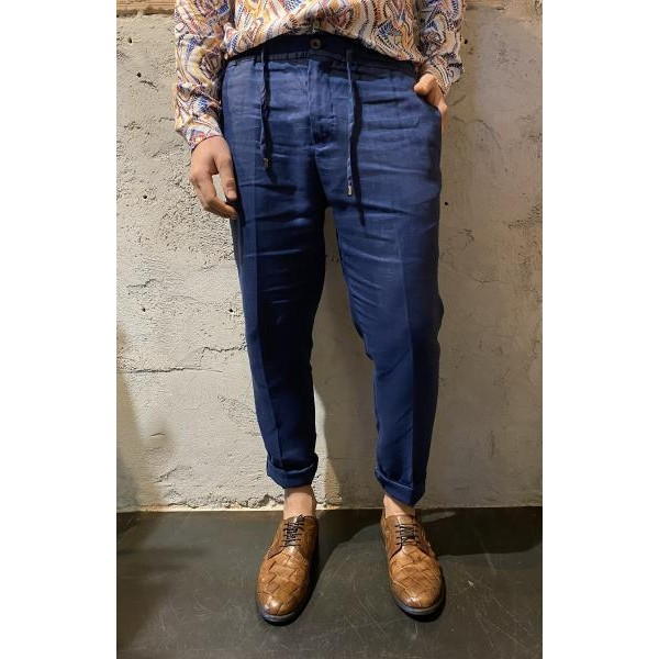 Pantaloni in lino blu out