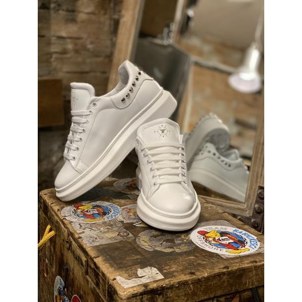 Sneakers Pltf  total white borchiata