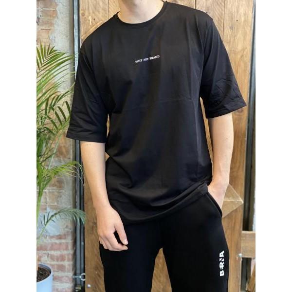 T shirt oversize scritta retro nera