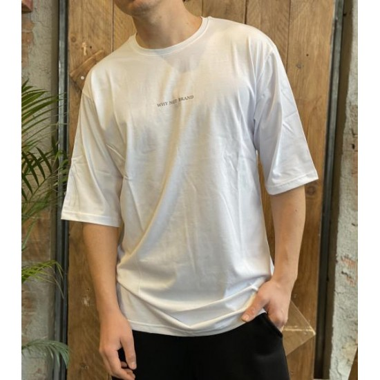 T shirt oversize scritta dietro bianca