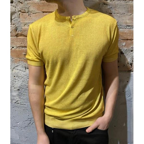 T shirt ocra in maglia fine