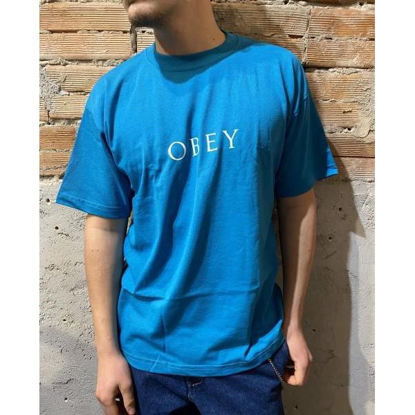 T shirt obey classica azzurra