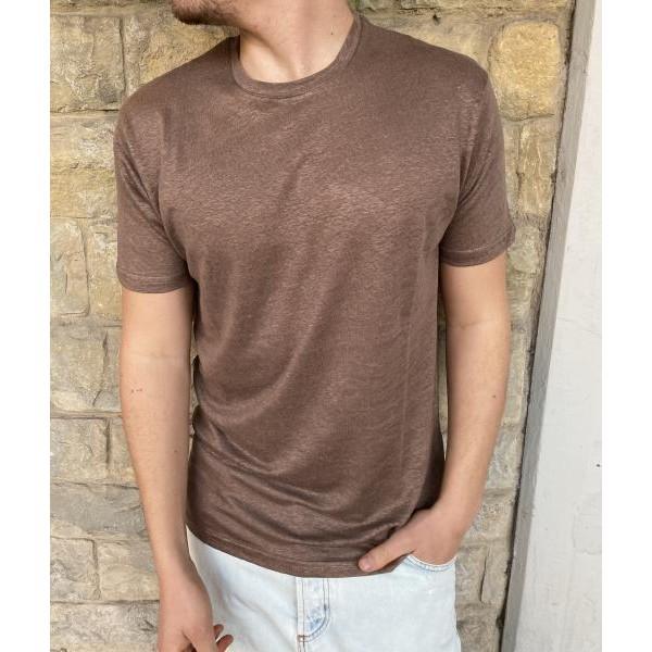 T shirt lino marrone od
