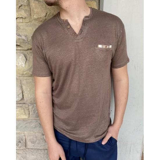 T shirt serafino lino marrone Od