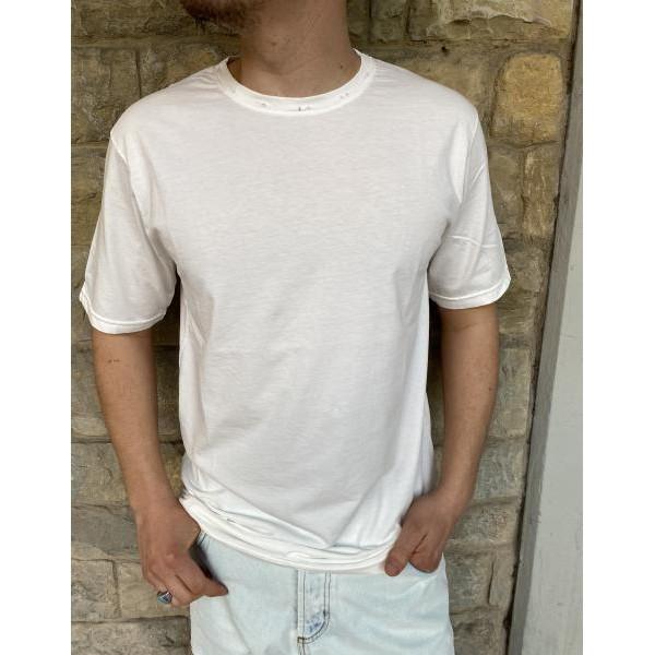 T shirt Od con rotture sul collo bianca