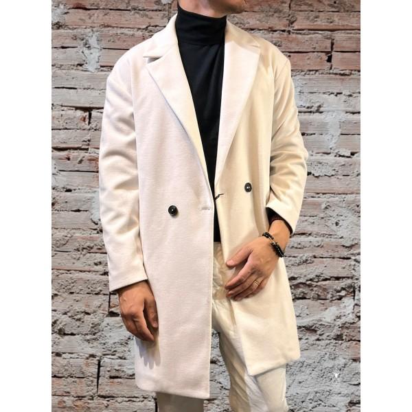 Cappotto doppio bottone bianco